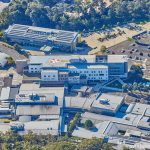 Aerial photograph of Coffs Harbour Health Campus new hospital build