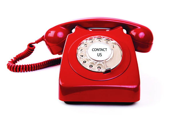 Red telephone with handset