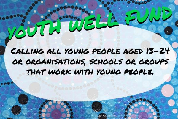 Aboriginal artwork behind text advertising Youth Well Fund