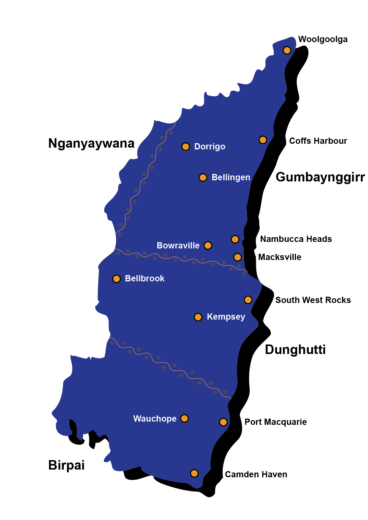 District map outlining the Aboriginal Nations