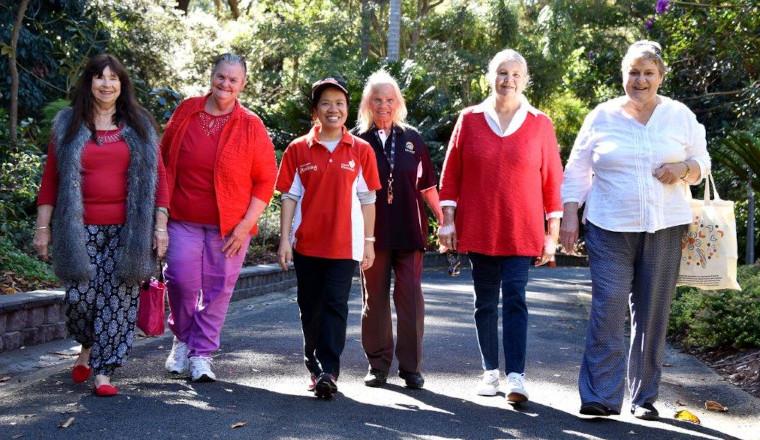 Large group walking